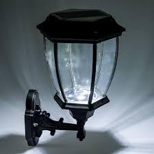 solar 12 led outdoor garden lamp sconce wall lantern light black
