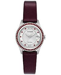 citizen watches macy s citizen eco drive women s silhouette crystal jewelry red leather strap watch 29mm fe1121 05a