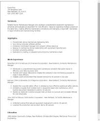 Facility Maintenance Manager Resume Template Best Design Tips Custom Maintenance Qualifications Resume