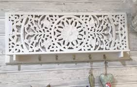rectangular carved white washed wooden