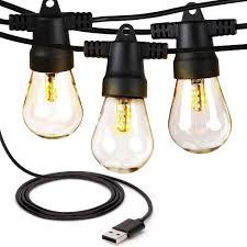 Usb Powered Outdoor Lights Ambience Pro Waterproof Led Outdoor Usb Powered String Lights 1 5w Vintage Edison Bulbs 24 Ft Heavy Duty Patio Lights Create Cafe Ambience On Your