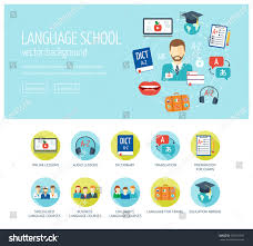 Learning Web Design Foreign Language Learning Web Design Concept Stock Vector