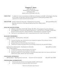 Internship Resume Objective Engineering Mechanical Engineering