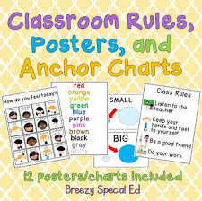Class Charts Free Free Classroom Rules Posters And Anchor Charts For Special Education