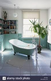Großes Helles Badezimmer Freistehende Badewanne Weiß Und Grün Mit