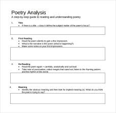 examples of poetry analysis essays quotrising fivequot norman  sample poetry s analysis template 6 doents in pdf examples of poetry analysis essays