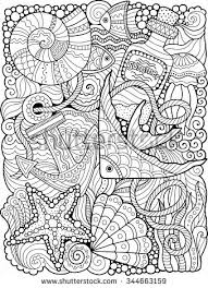Small Picture Vector coloring book for adult Summers sea Stencils and
