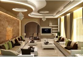 Interior Designing And Decoration Gypsum Ceiling Design With Cornice And Concealed Lights Strip 96