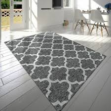 details about modern rug moroccan carpets geometric trellis design mats cotton grey rugs new