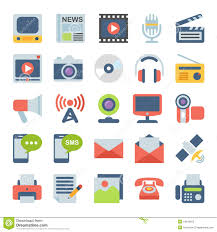 Communication Media Media And Communication Flat Icons Stock Vector Illustration Of