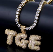 custom name iced out bubble letters chain pendants necklaces men s charms zircon hip hop jewelry with gold silver tennis chain icy swag