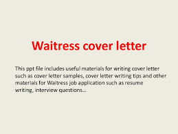 Cover Letter Job Waiter