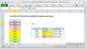 Excel Formula Conditional Formatting Highlight Target