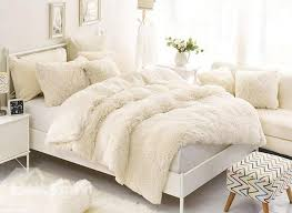 60 solid creamy white soft 4 piece fluffy bedding sets duvet cover