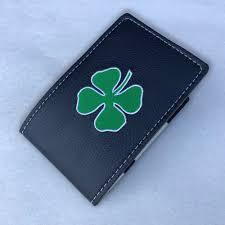 details about coobs golf shamrock clover leather yardage book cover scorecard holder