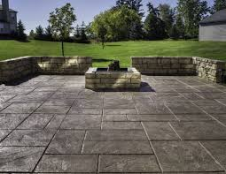 concrete patio with square fire pit. Spacious Outdoor Area Using Stamped Concrete Patio With Square Stone Fire Pit Facing Grass Yard Pinterest