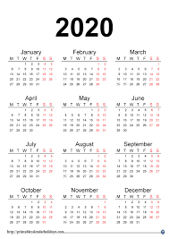 2020 Printable Calendar Yearly 2020 Yearly Calendar Printable Printable Calendar Template