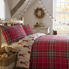 fusion tartan stag brushed cotton duvet cover set red bedding