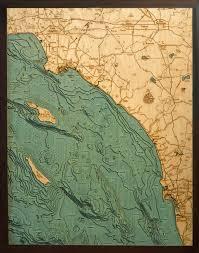 Los Angeles To San Diego 3 D Nautical Wood Chart 24 5 X 31
