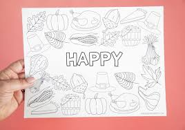 This coloring sheet will make a great decoration to hang up during the holidays. Free Printable Thanksgiving Placemat Craft Coloring Placemats