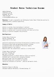 resume samples student nurse technician resume sample