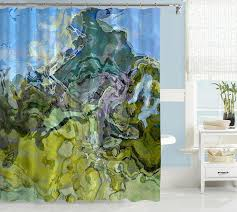 contemporary shower curtain abstract art blue and green shower curtain mountain view