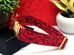 Red Bliss Design Red Black Scroll Designer Dog Collar
