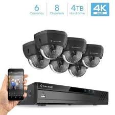 Plug \u0026 Play H.265 8-Channel 4K NVR 8MP Surveillance System with 6 - Wired Security Camera Systems The