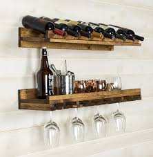t austin design berlyn 2 piece 8 bottle wall mounted wine rack with hanging decor 1
