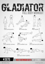 gladiator workout this site has 100 amazing no equipment workouts free phone and tablet also a paperback copy you can purchase from amazon for