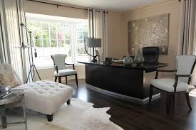 trendy home office design. Example Of A Trendy Home Office Design In San Francisco With Beige Walls Dark C