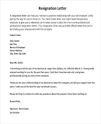 Sample Professional Resignation Letter Sample Resignation Letter 8 Free Documents In Word Pdf
