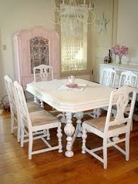 i seriously think this might be my table but painted antique dining room table and 6 chairs