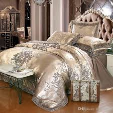 gold silver coffee jacquard luxury bedding set queen king size stain bed set 4 cotton silk lace duvet cover sets bedsheet home textile bedding comforters