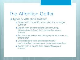 Example Of Attention Getters For Essays Getters For Essays Self Introduction Attention Getters For Essays
