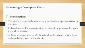 descriptive essay structure and organization  structuring a descriptive essay