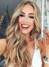 Middle Split Hair Style Sexy Long Wavy Middle Part Lace Front Human Hair Wigs 24 Inches 6916 by stevesalt.us