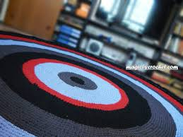 large round rug 8 ft crocheted rug rag rug handmade rug bedroom rug no 001