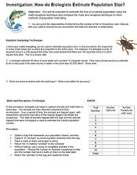 How To Prepare An Estimate Investigation Estimating Population Size Ecology