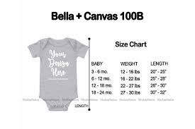Bella T Shirt Size Chart Size Chart For Bella Canvas 100b Baby Bodysuit Mockup
