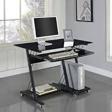 glass home office desks. Image Is Loading Computer-Desk-PC-Table-Black-White-Glass-Home- Glass Home Office Desks