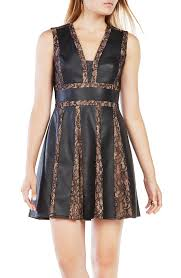 women s clothing bcbgmaxazria val faux leather lace dress black uk8776