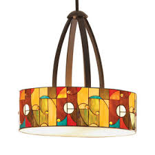 Allen + Roth W Kichler Mission Bronze Tiffany Style Pendant Light With  Tiffany Style Shade Center Of The Kitchen