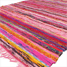 pink colorful decorative woven chindi bohemian boho rag rug 3 5 x 5 5 ft