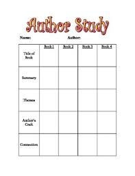 Study Chart For Students Author Study Chart