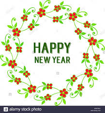 New Design Floral Lettering Of Happy New Year With Border Design Green Leaf