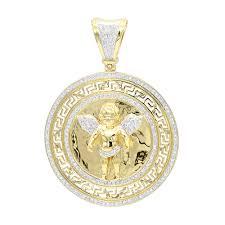 14k gold baby angel diamond medallion pendant for men 0 95ct by luxurman yellow image