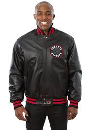 toronto raptors mens black all leather jacket heavyweight jacket image 1
