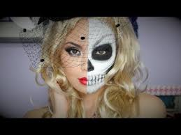 half glam half skull makeup tutorial you