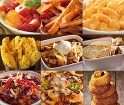 3x3 grid close ups of side dishes freckled fruit salad sweet potato